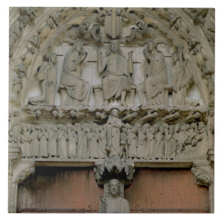 South Portal tympanum depicting Christ Enthroned w Ceramic Tile