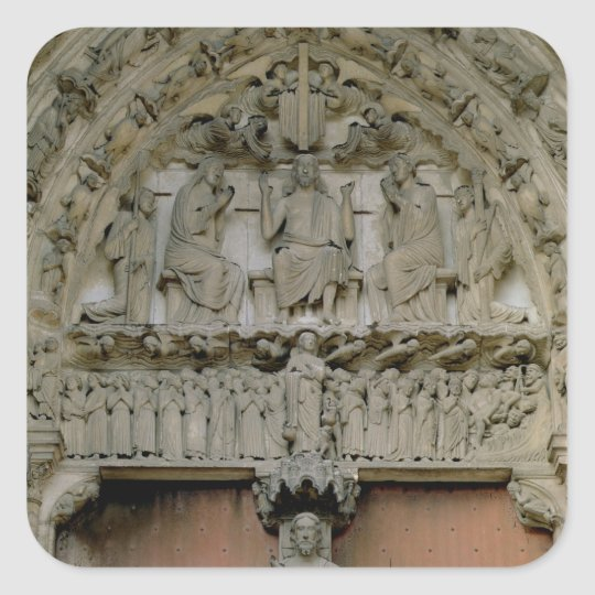 South Portal tympanum depicting Christ Enthroned w Square Sticker