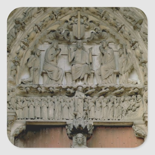 South Portal tympanum depicting Christ Enthroned w Stickers