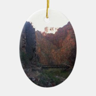 South Rim Grand Canyon National Park Phantom Ranch Double-Sided Oval Ceramic Christmas Ornament
