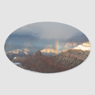 South Rim Grand Canyon Overlook Rainbow Oval Sticker