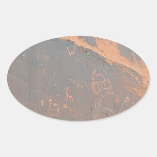South Rim Grand Canyon Petroglyph Oval Sticker