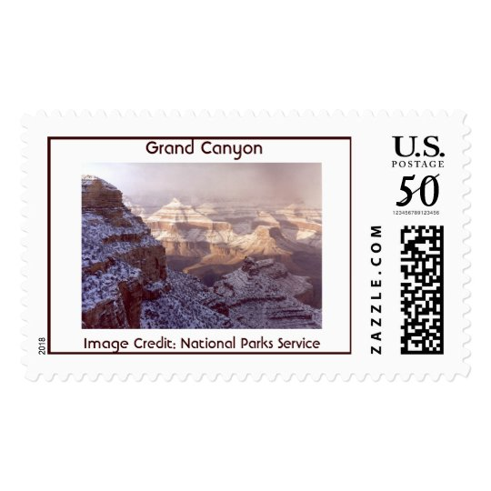 South Rim of the Grand Canyon in winter. Postage