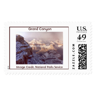 South Rim of the Grand Canyon in winter. Postage Stamp