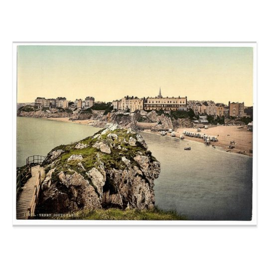 South sands, Tenby, Wales rare Photochrom Postcard