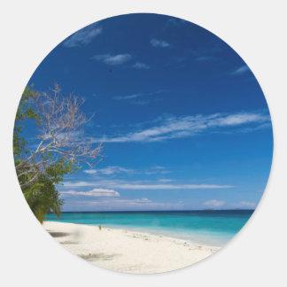 South Sea Island Beach, Fiji Classic Round Sticker