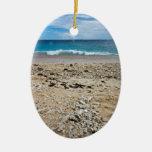 South Sea Island Beach, Fiji Double-Sided Oval Ceramic Christmas Ornament