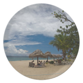 South Sea Island Beach, Fiji Melamine Plate