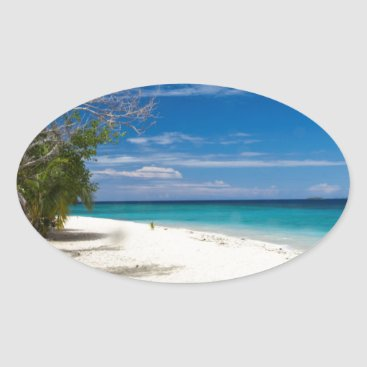 Beach Themed South Sea Island Beach, Fiji Oval Sticker