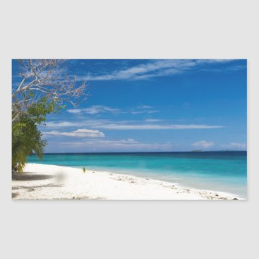Beach Themed South Sea Island Beach, Fiji Rectangular Sticker