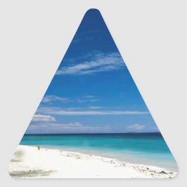 Beach Themed South Sea Island Beach, Fiji Triangle Sticker