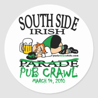 SOUTH SIDE IRISH PUB CRAWL ROUND STICKERS