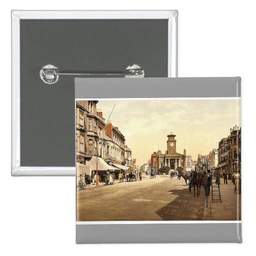 South Street, Worthing, England rare Photochrom 2 Inch Square Button