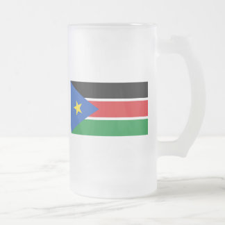 south sudan flag frosted glass beer mug