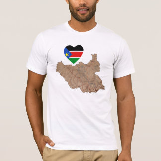 South Sudan Flag Heart and Map T-Shirt