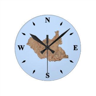 South Sudan Map Clock