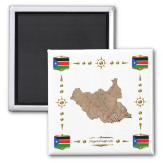 South Sudan Map + Flags Magnet