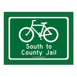 South to Country Jail, Traffic Sign, Chicago, USA Postcards