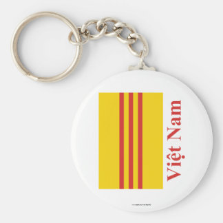 South Vietnam Flag with Name in Vietnamese Basic Round Button Keychain