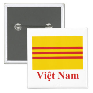 South Vietnam Flag with Name in Vietnamese Pinback Buttons