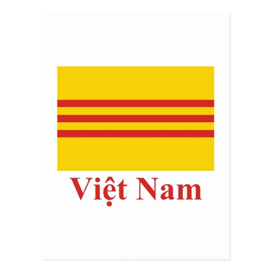 South Vietnam Flag with Name in Vietnamese Postcard