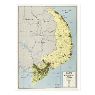 South Vietnam Map September 1972 Postcard