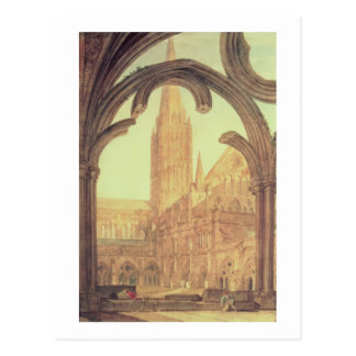 South View of Salisbury Cathedral from the Cloiste Postcard