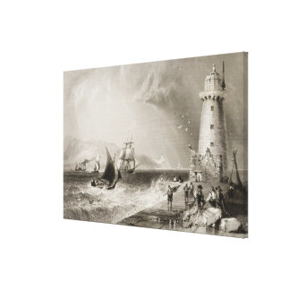 South Wall Lighthouse with Howth Hill Canvas Print