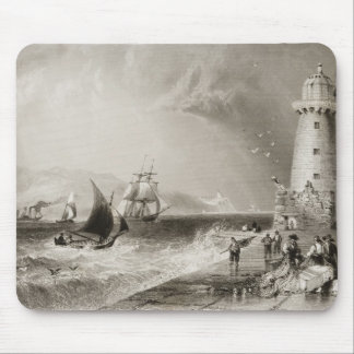 South Wall Lighthouse with Howth Hill Mouse Pad