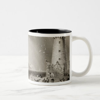 South Wall Lighthouse with Howth Hill Two-Tone Coffee Mug