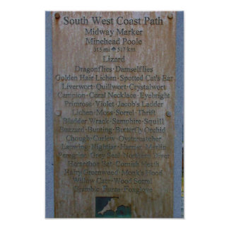 South West Coast Path Midway Marker Poster
