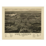 South Weymouth, MA Panoramic Map - 1885 Poster