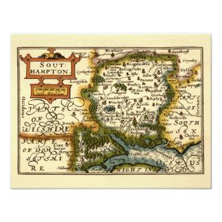 """Southampton: Mapa de Southamptonshire el condado Invitación 4.25"""" X 5.5"""""""