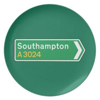 Southampton señal de tráfico BRITÁNICA Platos De Comidas