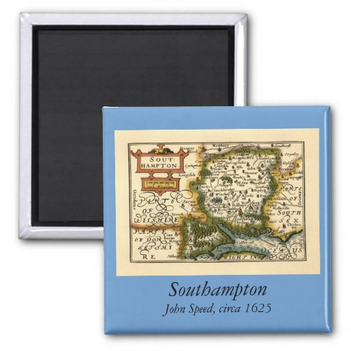 Southampton: Southamptonshire Hampshire County Map 2 Inch Square Magnet