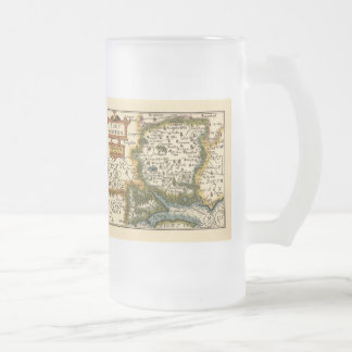 Southampton: Southamptonshire Hampshire County Map Frosted Glass Beer Mug