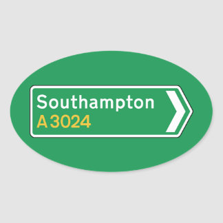 Southampton, UK Road Sign Oval Sticker