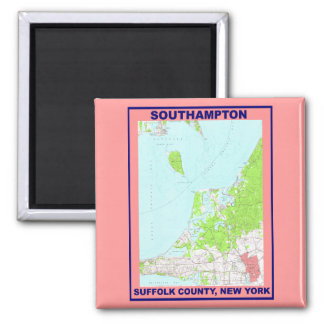 Southampton Village NY Vintage Map ca. 1956 2 Inch Square Magnet