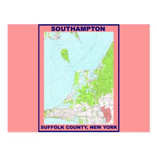 Southampton Village NY Vintage Map ca. 1956 Postcard