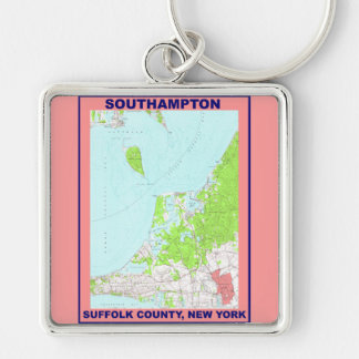 Southampton Village NY Vintage Map ca. 1956 Silver-Colored Square Keychain
