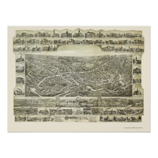 Southbridge, mapa panorámico del mA - 1892 Póster