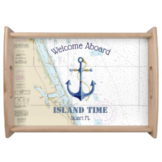 Southeast Florida Boat Name Welcome Aboard Anchor Serving Tray