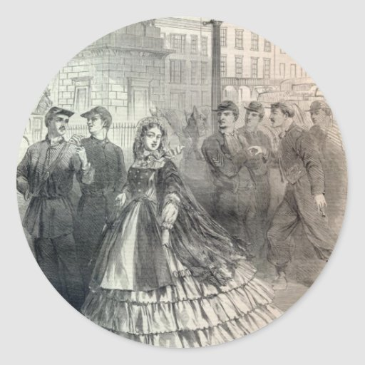 Southern belle, 1861 round stickers