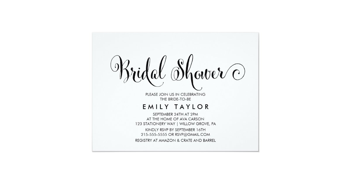 Southern Belle Calligraphy Bridal Shower Invitation