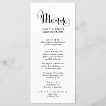 Southern Belle Calligraphy Dinner Menu Card