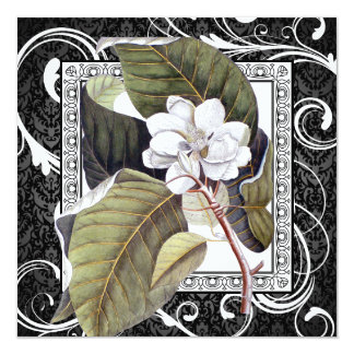 Southern Belle Magnolia Save the Date Damask Card