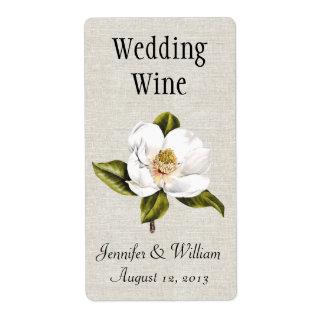 Southern Belle Magnolias Wedding Mini Wine Label