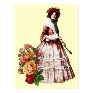 Southern Belle Vintage Postcard