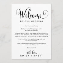 Southern Belle Wedding Welcome Letter & Itinerary Program