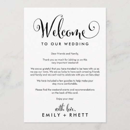 Southern Belle Wedding Welcome Letter Itinerary Program